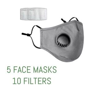 Accessories - 😻DEAL💋 5 Washable Gray Face Covers 10 Filters